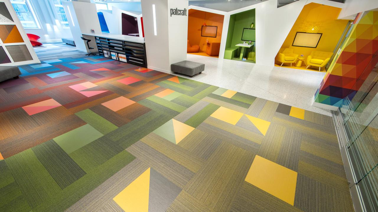 Patcraft Mixed Materials Converge Carpet and Resilient Tiles