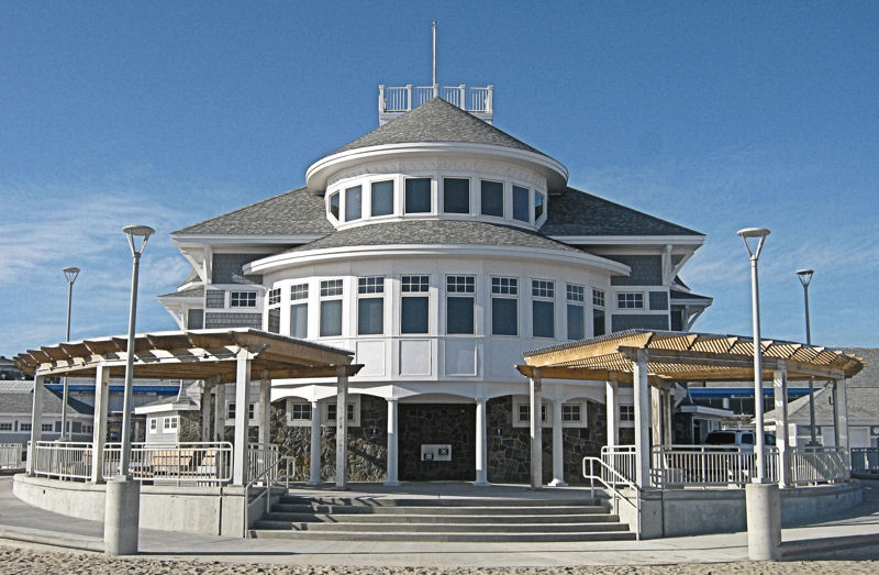 Hampton Beach State Park Seashell Building viewed from the beach