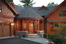 Award winning custom timberframe home with graceful entry